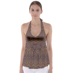 Aztec Pattern Babydoll Tankini Top