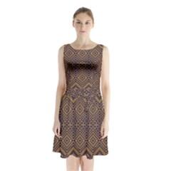 Aztec Pattern Sleeveless Chiffon Waist Tie Dress