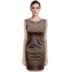 Aztec Pattern Sleeveless Velvet Midi Dress