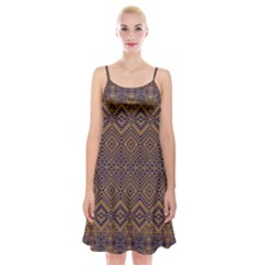 Aztec Pattern Spaghetti Strap Velvet Dress
