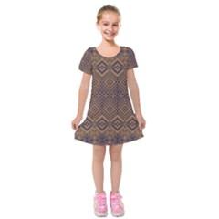 Aztec Pattern Kids  Short Sleeve Velvet Dress