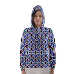 Background Pattern Geometric Hooded Wind Breaker (women)