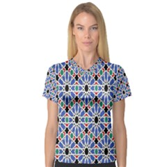 Background Pattern Geometric Women s V Neck Sport Mesh Tee