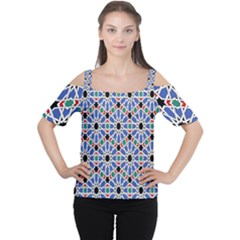 Background Pattern Geometric Women s Cutout Shoulder Tee