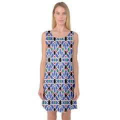 Background Pattern Geometric Sleeveless Satin Nightdress