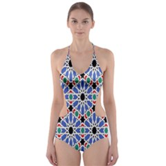 Background Pattern Geometric Cut Out One Piece Swimsuit