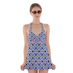 Background Pattern Geometric Halter Swimsuit Dress