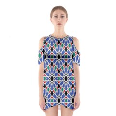 Background Pattern Geometric Shoulder Cutout One Piece