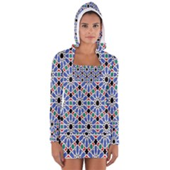 Background Pattern Geometric Women s Long Sleeve Hooded T Shirt