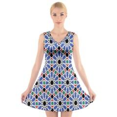 Background Pattern Geometric V Neck Sleeveless Skater Dress