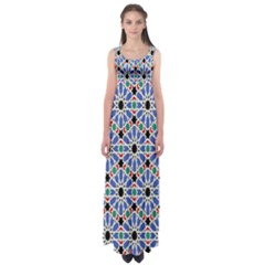 Background Pattern Geometric Empire Waist Maxi Dress
