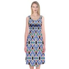 Background Pattern Geometric Midi Sleeveless Dress