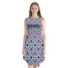 Background Pattern Geometric Sleeveless Chiffon Dress