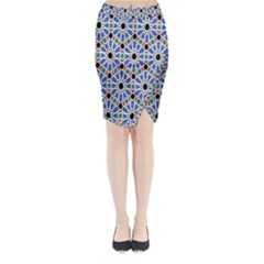 Background Pattern Geometric Midi Wrap Pencil Skirt