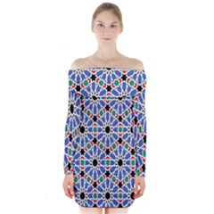 Background Pattern Geometric Long Sleeve Off Shoulder Dress