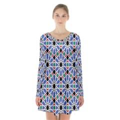 Background Pattern Geometric Long Sleeve Velvet V Neck Dress