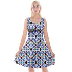 Background Pattern Geometric Reversible Velvet Sleeveless Dress