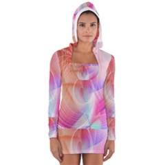 Background Nebulous Fog Rings Women s Long Sleeve Hooded T Shirt
