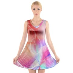 Background Nebulous Fog Rings V-Neck Sleeveless Skater Dress