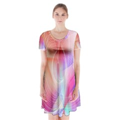 Background Nebulous Fog Rings Short Sleeve V Neck Flare Dress