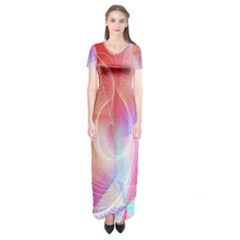 Background Nebulous Fog Rings Short Sleeve Maxi Dress