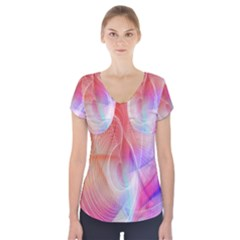 Background Nebulous Fog Rings Short Sleeve Front Detail Top