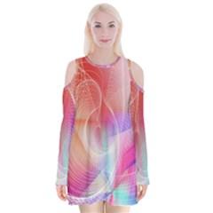 Background Nebulous Fog Rings Velvet Long Sleeve Shoulder Cutout Dress