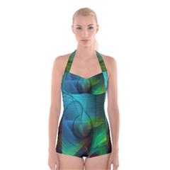 Background Nebulous Fog Rings Boyleg Halter Swimsuit