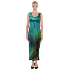 Background Nebulous Fog Rings Fitted Maxi Dress