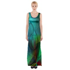 Background Nebulous Fog Rings Maxi Thigh Split Dress