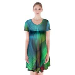 Background Nebulous Fog Rings Short Sleeve V Neck Flare Dress