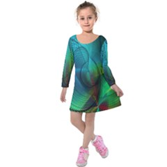 Background Nebulous Fog Rings Kids  Long Sleeve Velvet Dress