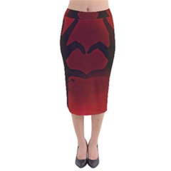 Dark Valentines Velvet Midi Pencil Skirt