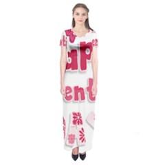 Happy Valentines Day Busy Short Sleeve Maxi Dress