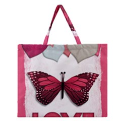 Pink Butterfly Love Zipper Large Tote Bag