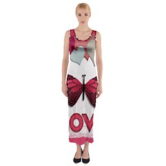Pink Butterfly Love Fitted Maxi Dress