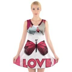 Pink Butterfly Love V-Neck Sleeveless Skater Dress