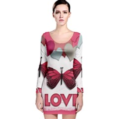 Pink Butterfly Love Long Sleeve Velvet Bodycon Dress