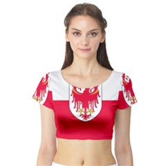 Flag of South Tyrol Short Sleeve Crop Top (Tight Fit)