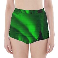 Aurora Borealis Green High-Waisted Bikini Bottoms