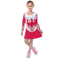 Flag of South Tyrol Kids  Long Sleeve Velvet Dress