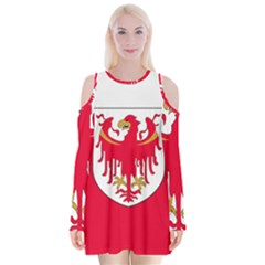 Flag of South Tyrol Velvet Long Sleeve Shoulder Cutout Dress