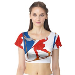 Lillehammer Coat of Arms  Short Sleeve Crop Top (Tight Fit)