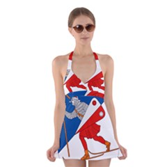 Lillehammer Coat of Arms  Halter Swimsuit Dress