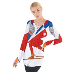 Lillehammer Coat of Arms  Women s Tie Up Tee