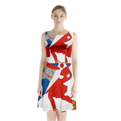 Lillehammer Coat of Arms  Sleeveless Chiffon Waist Tie Dress