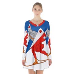Lillehammer Coat of Arms  Long Sleeve Velvet V-neck Dress