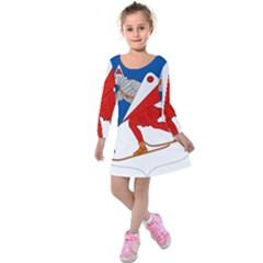 Lillehammer Coat of Arms  Kids  Long Sleeve Velvet Dress