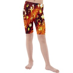 Background Pattern Lines Oval Kids  Mid Length Swim Shorts