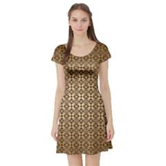 Background Seamless Repetition Short Sleeve Skater Dress